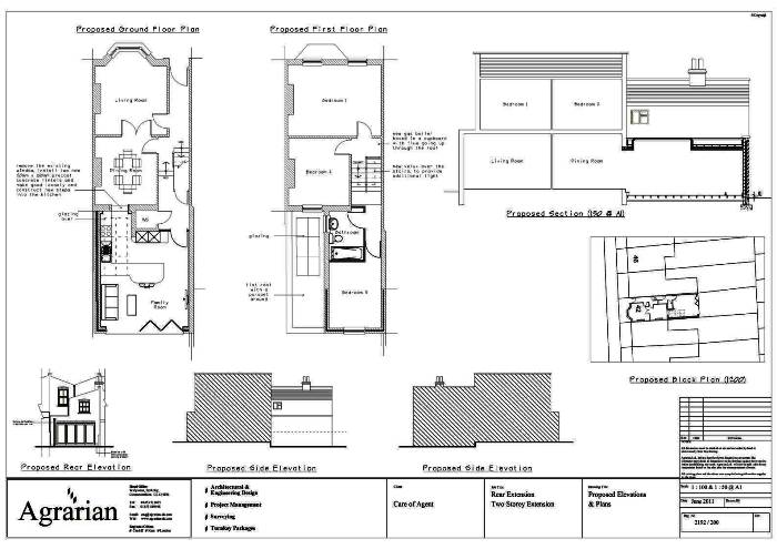Two storey rear extension plan london birmingham for House extension drawings