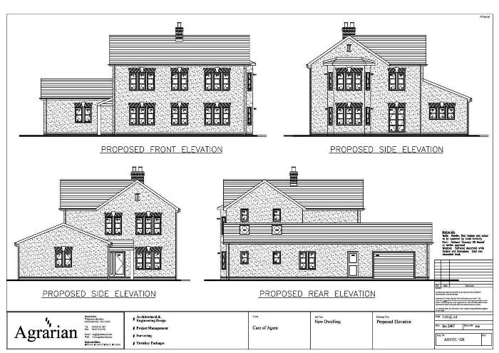 New detached house plan elevations london birmingham for Residential house plans and elevations